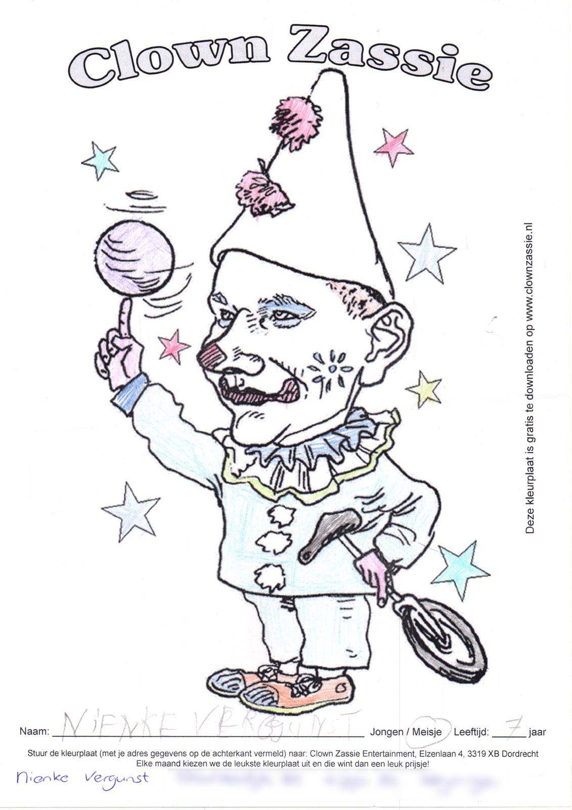 Ingezonden Kleurplaten Kleurwedstrijd Clown Zassie Entertainment