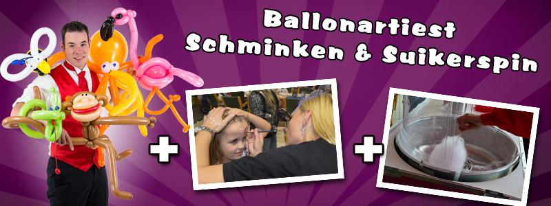 Ballonartiest, Suikerspinmachine & Schminkstand